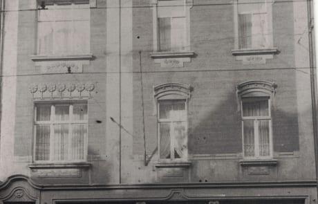 Ladengeschäft von außen (1933) Tapeten-Teppichboden Bleckmann in Duisburg